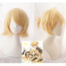 Vocaloid Kagamine Rin / Kagamine Len Short Blonde Heat Resistant Hair Cosplay Costume Wig + Track + Wig Cap