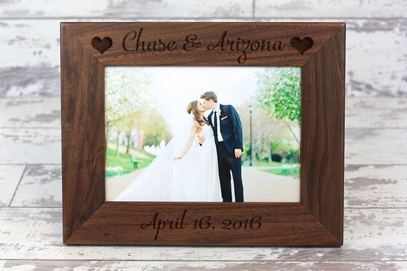 Personalize Wedding Picture Frame, Engraved Photo Frame