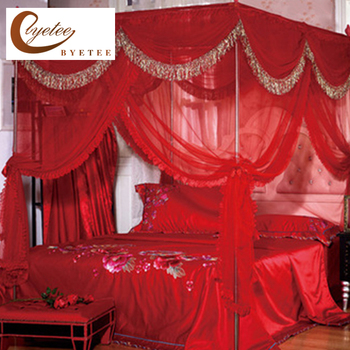 [byetee] Mosquito Net Red Bed Canopy Curtains Palace Mosquito Net Three-door Luxury Bed Canopy with Stainless Steel Frame