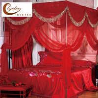 [Byetee]蚊ネット赤いベッド天蓋カーテン宮殿蚊帳三ドア高級ベッド天蓋付きステンレススチールフレーム