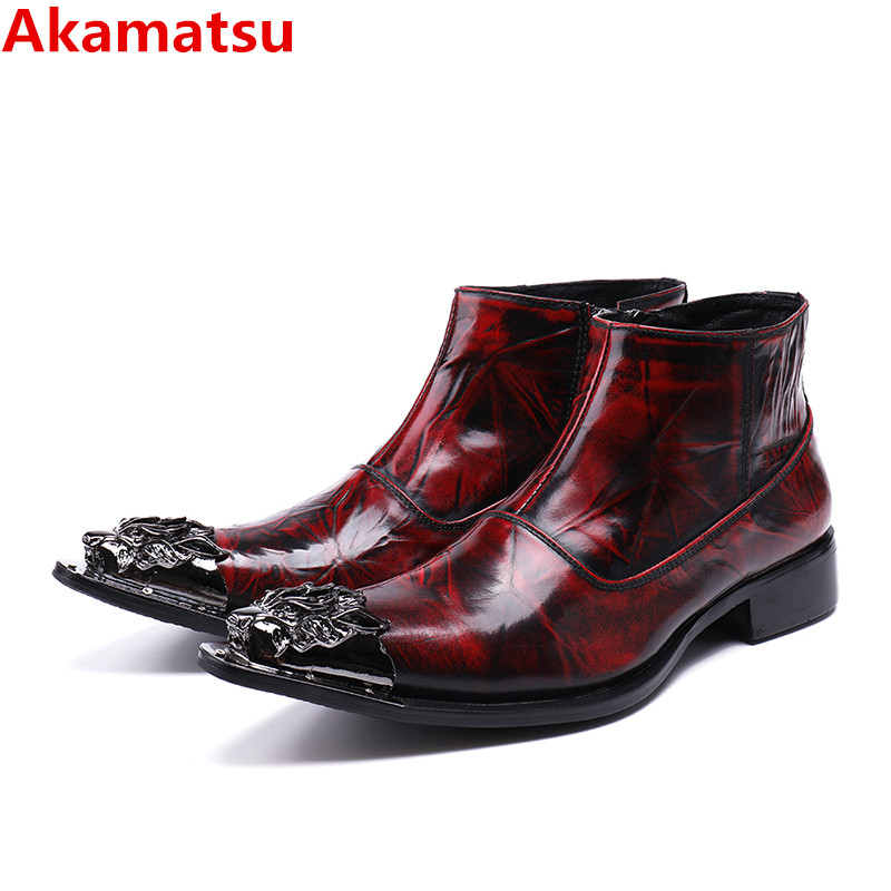 Bota masculina red genuine leather military boots medium hight winter chelsea boots men punk cowboy boots mens big size northmarch autumn winter retro men boots comfortable zipper brand casual shoes leather snow boots shoes dark red bota masculina