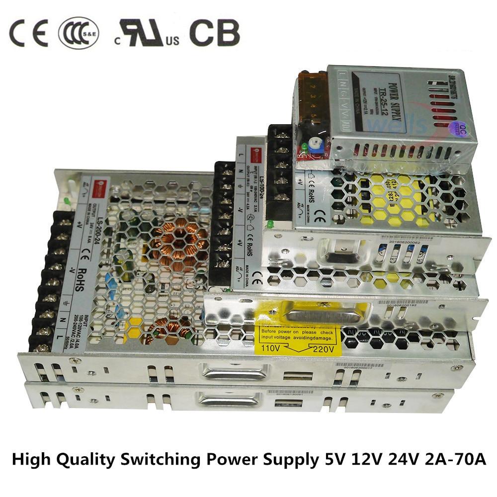 LED-drivrutin för 5050 3528 WS2812B LED-remsa AC 110V 220V till DC12V 24V 2A 4A 8A 10A 14A 16A 20A 29A Smal strömförsörjningstransformator