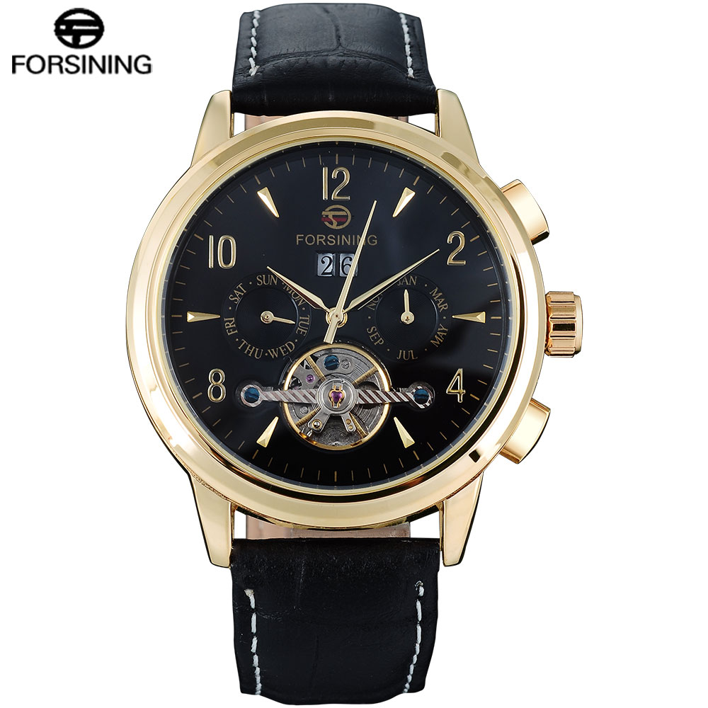 FORSINING Classic Fashion Mens Watches Skeleton Design Tourbillion Genuine Leather Top Brand Luxury AutoMechanical Men Watch forsining fashion tourbillon watch men genuine leather strap skeleton tooeau dial date mechanical mens watches top brand luxury