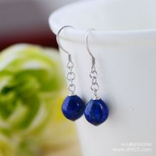 925 sterling silver jewelry Natural lapis lazuli and lovely Small ball earrings