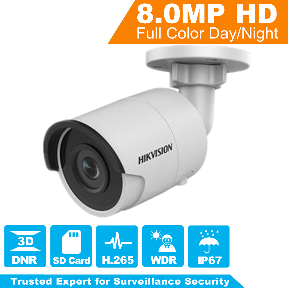 HIKVISION 8MP H.265 Bullet IP Camera DS-2CD2085FWD-I 3D DNR Network Security Camera with High Resolution 3840 * 2160 hikvision new released 8mp h 265 network dome camera ds 2cd2185fwd i 3d dnr bullet camera 3840 2160 resolution ik 10 ip 67