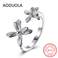 925 Sterling Silver Adjustable Ring Rose Gold Plated Flower Rings Women S Rings Ladies And Girls