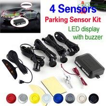Envío Gratis 4 Kit de Sensores 22mm Coche LED Sensor de Aparcamiento pantalla 12 V para todos los coches Asistencia Inversa Monitor de Reserva Del Radar sistema