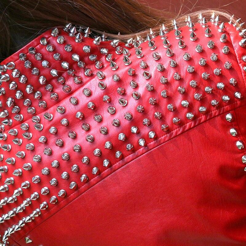 De Cuir En Personnalité Dj Veste Rocker Punk Discothèque L'europe Mode Moto Streetwear Femme Rivet Vestes Rouge g5q1pnx