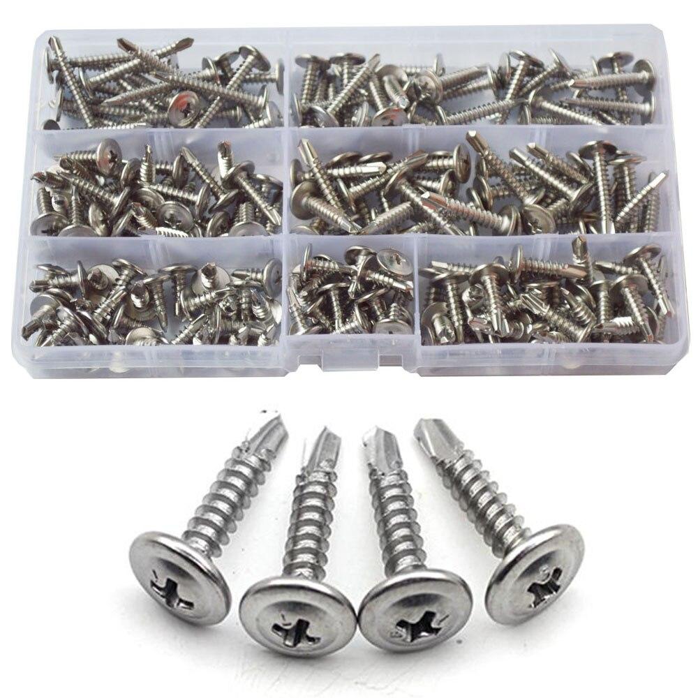 #8 #10 Phillips Truss Head Self Tapping Screw Thread Cross Wafe Self Drilling Screws Bolt Assortment Kit Set Stainless Steel|Screws| |  - title=