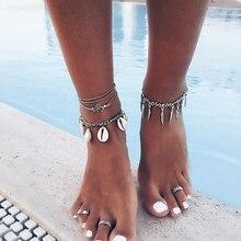 Vintage Women Long Chain Leg Bracelets Fashion Jewelry Accesspries Female Beach Ankle Decorations Bohemia Foot Bracelet