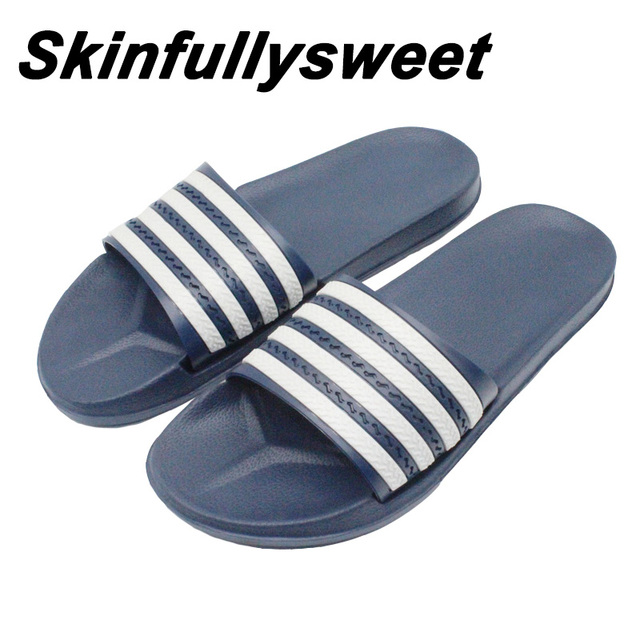 b98c0fc7b61 2018 New Striped Home Slippers Sandals Summer Fashion Men s Indoor And  Outdoor Leisure Non-slip Beach Shoes Couple Slippers