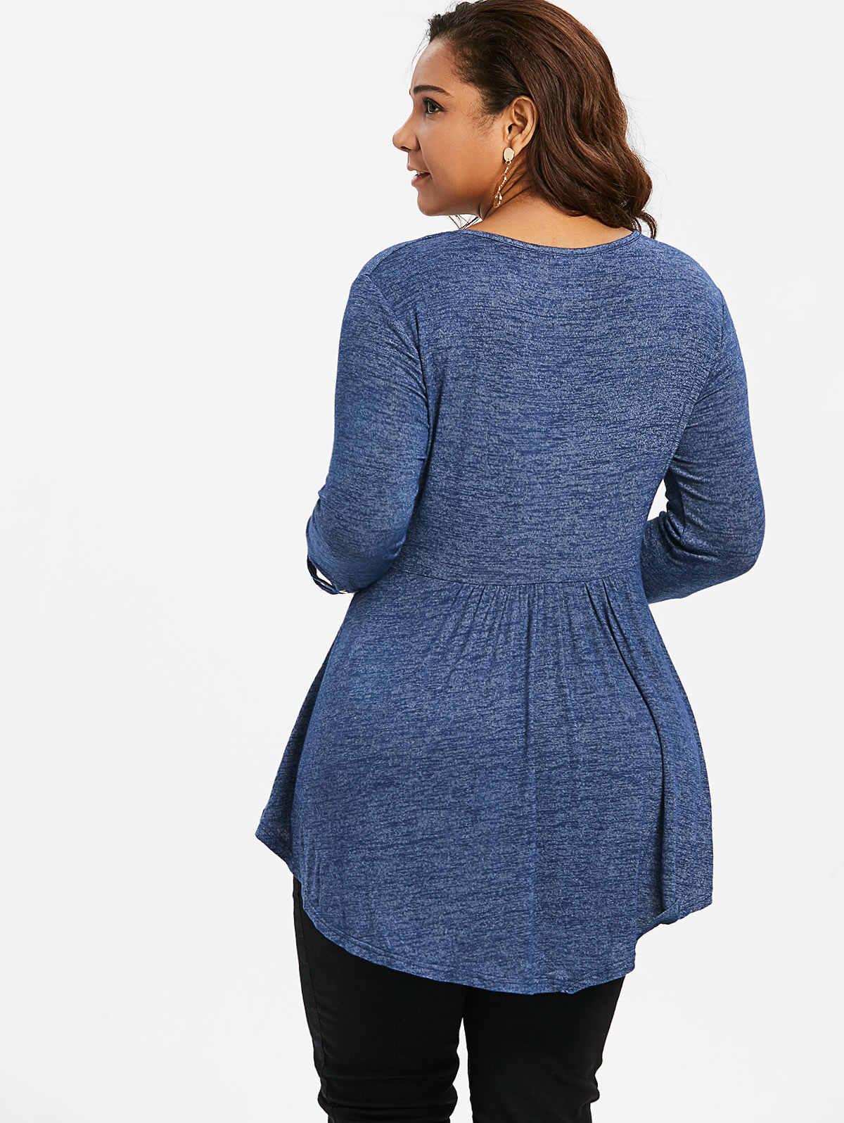 Rosegal размера плюс 5XL женская одежда осень лестница вырезами с круглым вырезом с рукавом три четверти Высокая Талия Футболка женская Футболки Повседневная рубашка
