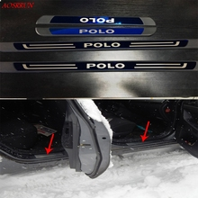 цена на Stainless Steel Original factory Door Sills Scuff Plate for VW Volkswagen POLO CROSS Vento MK5 mk6 2009-2018 car Accessories