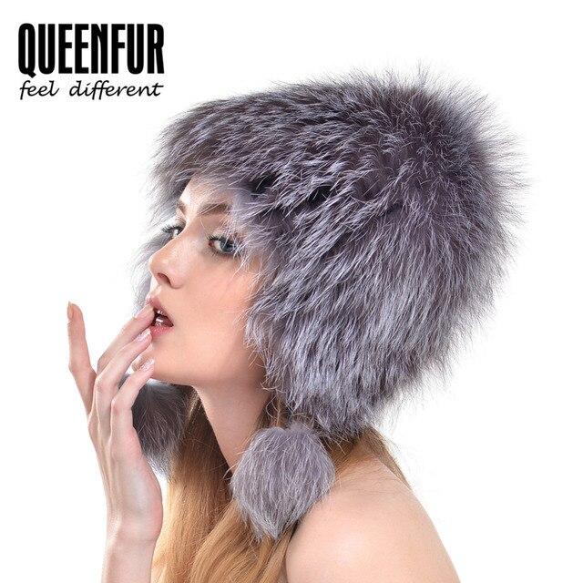 QUEENFUR 2016 Women Genuine Silver Fox Fur Hat Beauty Girls Fox Fur Caps Winter New Real Fur Beanies casquette