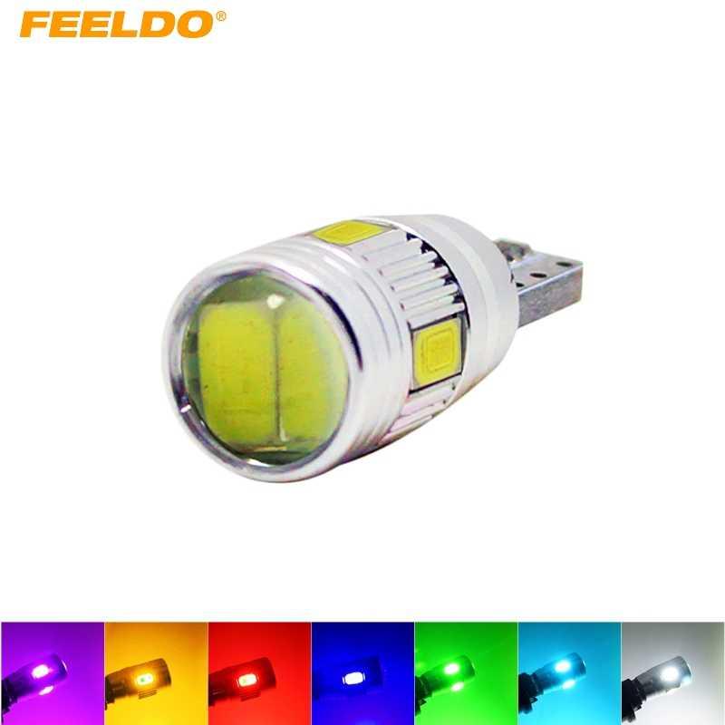 FEELDO 1 ADET T10/W5W/194/168 6 SMD 5630 6LED Canbus hatasız araç led ışık Ampul Lens Ile # FD-1255