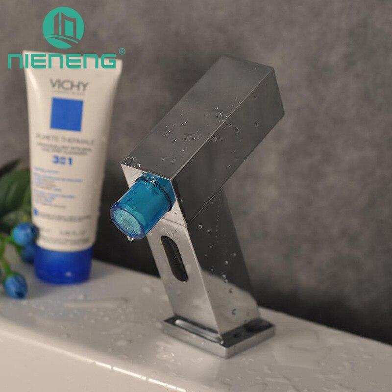 Nieneng Touch Бесплатная автоматический датчик смесители LED кран для раковины ванной комнаты холодной воды бассейна Ресторан коснитесь краны лат