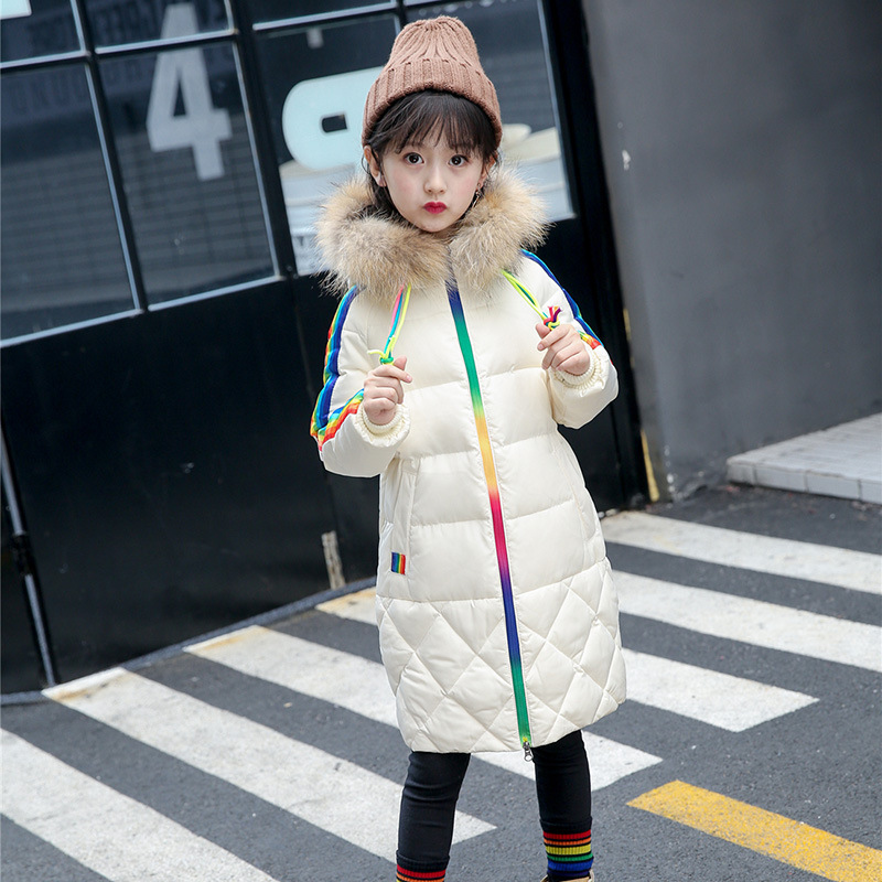 Fashion Kids Winter Fur Collar Girls Rainbow Parkas jacket Long Outerwear Coat Child Hooded Thicken Girls Down Jacket Clothes a15 girls down jacket 2017 new cold winter thick fur hooded long parkas big girl down jakcet coat teens outerwear overcoat 12 14