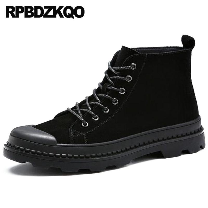 scarpe da ginnastica alte sulla piattaforma in pelle pieno fiore scarpe da batman scarpe alto alto suola nera Punta tonda Real ...
