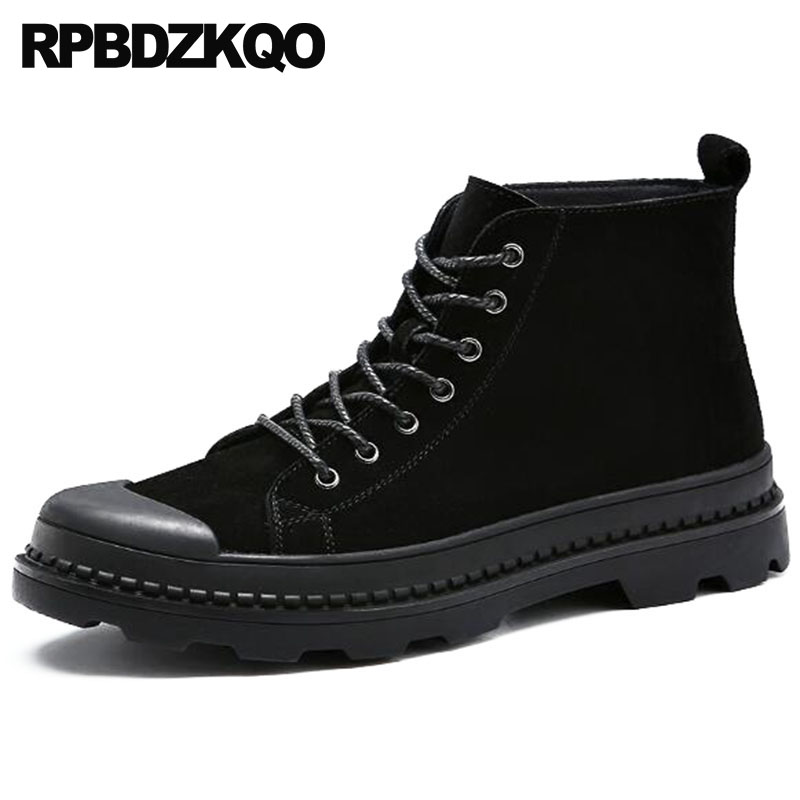 высокорослые кроссовки на платформе полнозернистая кожа батильоны обувь ботинки высокий верх высокая подошва черный Круглый носок Настоя...