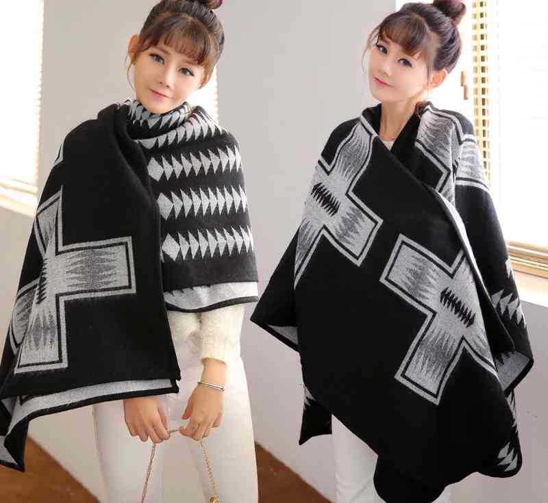 Winter Ethnic Women Geometric Shawl Overwear Coat Boho Cardigan Knitted Poncho Capes Loose Black   Scarf     Wraps