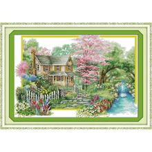 Everlasting love Flowers villa  Chinese cross stitch kits Ecological cotton stamped 11CT 14CT DIY new year decorations for home