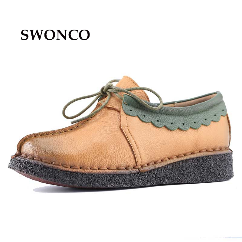 Fashion Sewing Women Genuine Leather Shoes Flats Footwear Casual Lace Round Toe Retro Shoes High Quality Handmade Soft Shoes boys casual shoes soft footwear classic men summer flats fashion high quality shoes aa20302