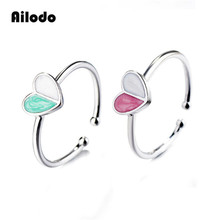 Ailodo Cute Enamel Heart Opening Rings For Women Girls Lovely Copper Adjustable Fashion Party Jewelry Birthday Gift LD148