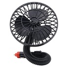 Electric Car Fan Mini Car Cooling Fan Rotatable Automotive Air Circulator with Suction Cup DC 12V Black
