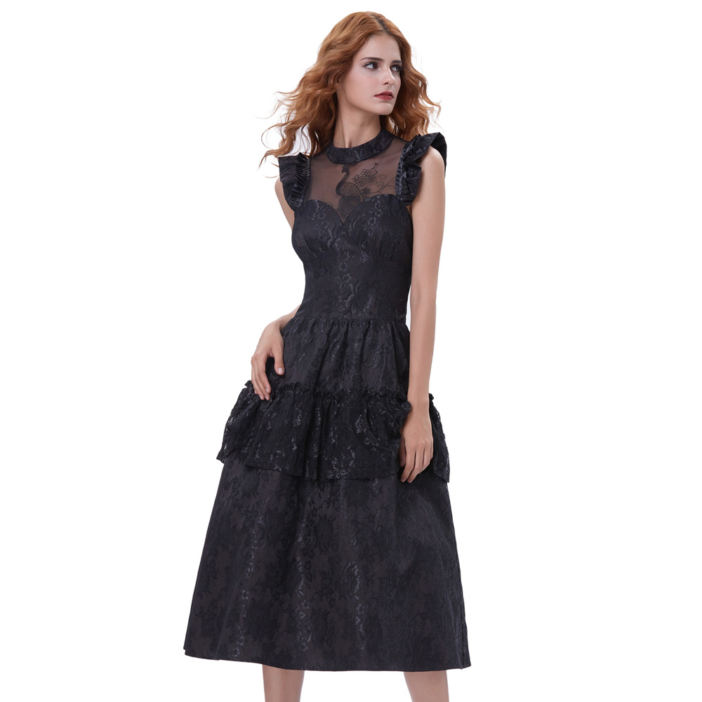 ffa972b15f3 Belle Poque 2017 Summer Ladies Elegant Ruffled High Neck Rockabilly Dress  Sexy Women Lace 40s Gothic Retro Style Femme Vestidos-in Dresses from  Women s ...