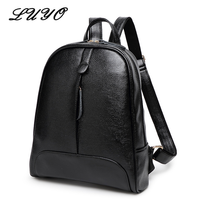 Luyo Genuine Leather High Quality Women Backpacks School Bags For Teenagers Teenage Girls Mochila  Fashion Feminine Sac A Dos kajie pu skin leather large capacity student fashion women backpacks for teenage girls sac a dos travel feminine bag mochila