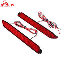 Pair Car LED Rear Bumper Reflector Brake Lights Red Lens Red font b Lamp b font