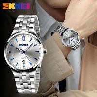 SKMEI Fashion Lovers Quartz Watch Men Women Stainless Steel Watches Calendar Waterproof Wristwatches Relogio Masculino 9071