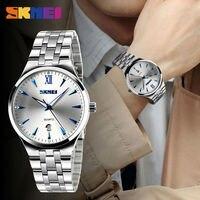 SKMEI Fashion Lovers Quartz Watch Men Women Stainless Steel Watches Calendar Waterproof Wristwatches Relogio Masculino 9071
