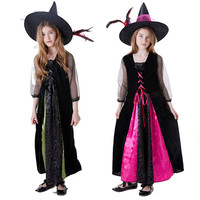 cosplay Halloween Carnival Cloak Show Masquerade Costume Witch Vampire Cloak Elf Cloak Sorcerer Costume Rose Red Witch dress+hat