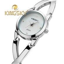 Группа KINGSKY женщины из нержавеющей стали ремешок женщины одеваются часы мода дамы алмаз элегантные кварцевые браслет наручные часы