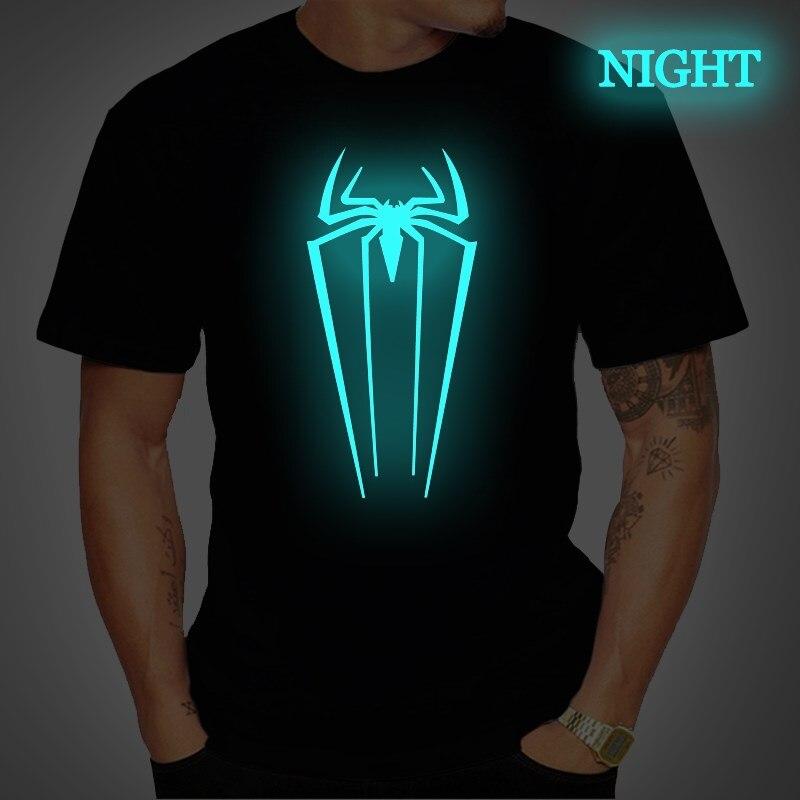 Avengers Tops Teens Spiderman Tshirt Luminous Mens T Shirt Summer Short Sleeve T Shirts Women Casual Streetwear Plus Size 4XL