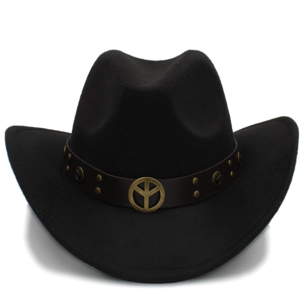 3b283163a9ba0 Aliexpress.com  Comprar Lana moda mujeres hueco Sombrero de vaquero  occidental para Lady Cowgirl Jazz ecuestre Sombrero Hombre Cap tamaño 56 58  cm de ...