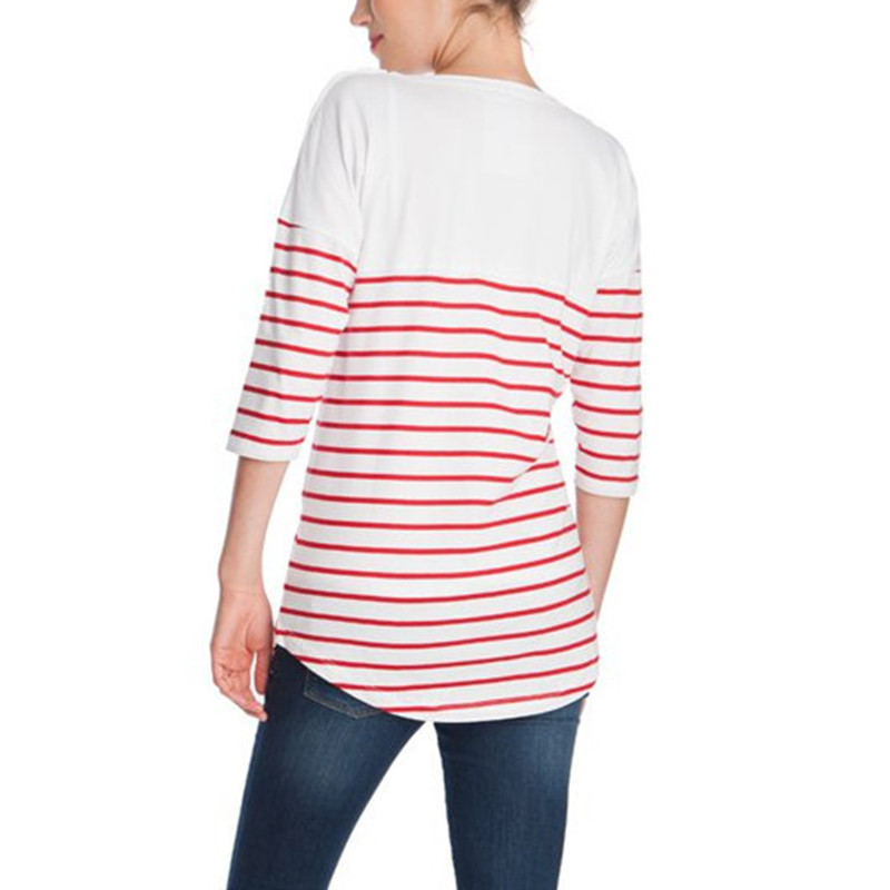 Fashion Summer Maternity Clothes Tops Half Sleeve Nursing T-Shirts For Pregnant Women Striped Casual Breastfeeding Tops A0126