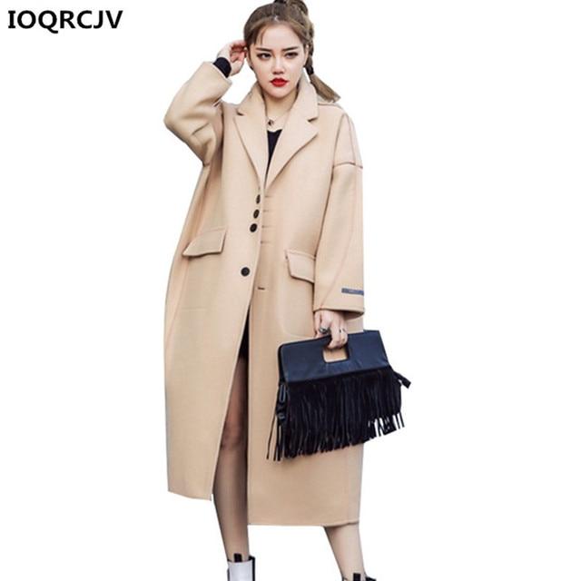 f0eb28276c43 Women's Blended Woolen Overcoat 2018 Autumn Winter New Medium-length Cozy  Casual Tops Long Sleeves