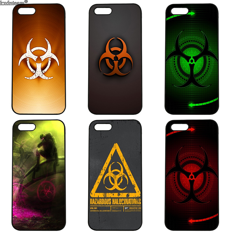 Red Biohazard Logo PC Case for iphone 8 7 6 6S Plus X 5S 5C 5 SE 4 4S iPod Touch 4 5 6 Shell Hard Anti-knock Mobile Phone Cases