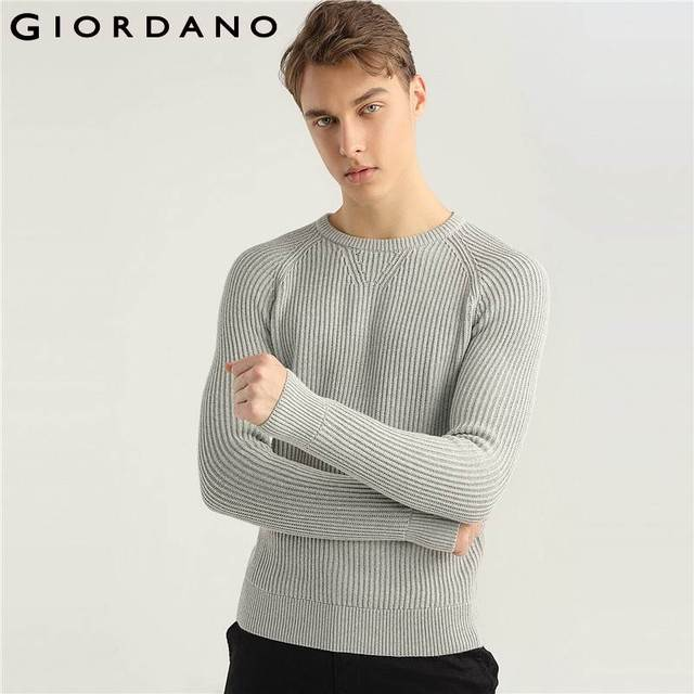 846ea59de386 Giordano Men Knitwear Fashion Ribbed Knitted Sweater Long Sleeves Crewneck  Mens Sweater Casual Brand Clothing New Arrival