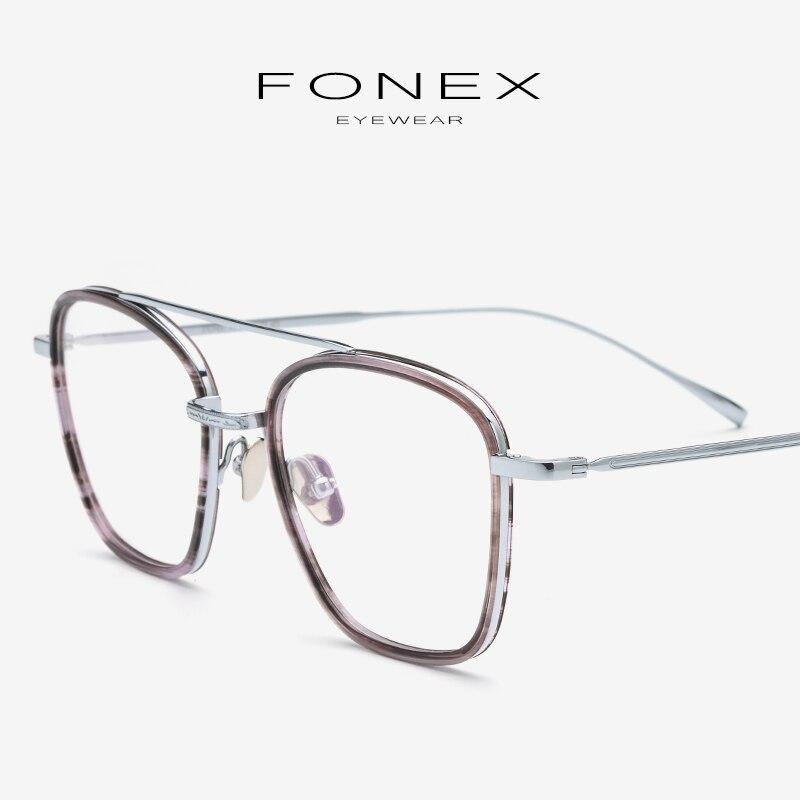 Acétate pur titane lunettes cadre hommes ultra-léger carré lunettes Prescription myopie optique lunettes montures lunettes 9134
