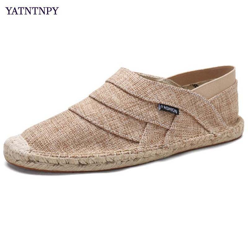 YATNTNPY Comforbable hemp men shoes summer breathable canvas casual shoes fashion slip-on flat loafers man hemp moccasins
