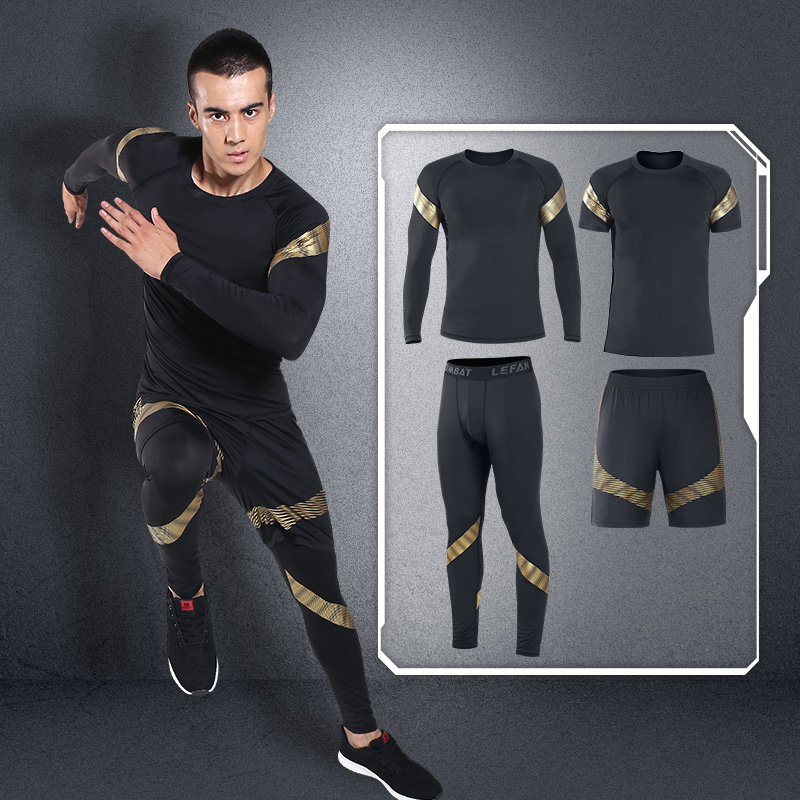LEFAN 2018 Men Sports Clothes Suits 4pcs Elastic Running Fitness Sets Male Sportswear Tight Basketball Training Gym Jogging Sets lefan 2018 sport suits 3pcs men elastic running fitness sets male training sportswear clothes set gym tracksuits tight leggings