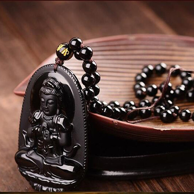 Yu Xin Yuan Fine Jewelry Natural Black Obsidian Carved Guanyin Lucky Amulet Pendant jade Necklace For Women Men jewelry