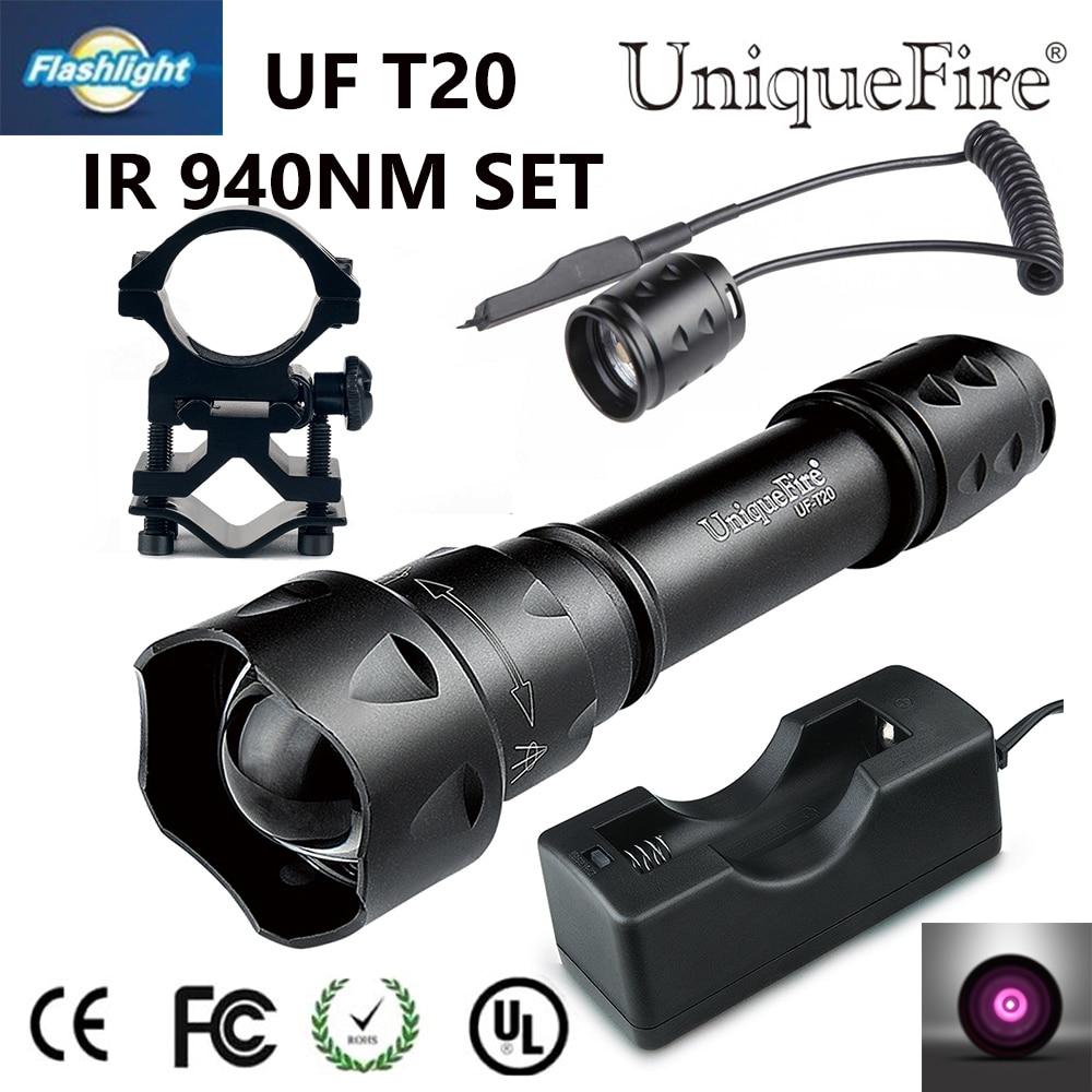 Sıcak satış T20 IR 940NM LED El Feneri 3 Modu Ayarlanabilir Odak Torch + Şarj + Taktik Uzaktan + Gun dağı Kamp için