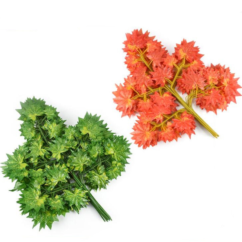 48pcs Artificial MapleTree Stems Fake Greenery Maple Tree Branches red green 65cm for Wedding Party Supermarket