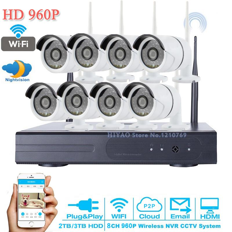 P2P 960P CCTV Camera System 8CH NVR 3TB HDD Outdoor HD Infrared Security Camera Surveillance Home Network WIFI IP Camera System корпус для hdd orico 9528u3 2 3 5 ii iii hdd hd 20 usb3 0 5