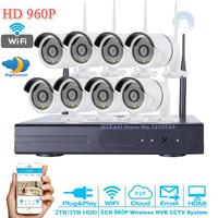 P2P 960P CCTV Camera System 8CH NVR 3TB HDD Outdoor HD Infrared Security Camera Surveillance Home
