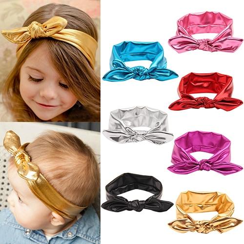 Hot High Recommend Baby Girl Kids Gilding Stretch Rabbit Ear Hair Bow Turban Knot Headband Hairband